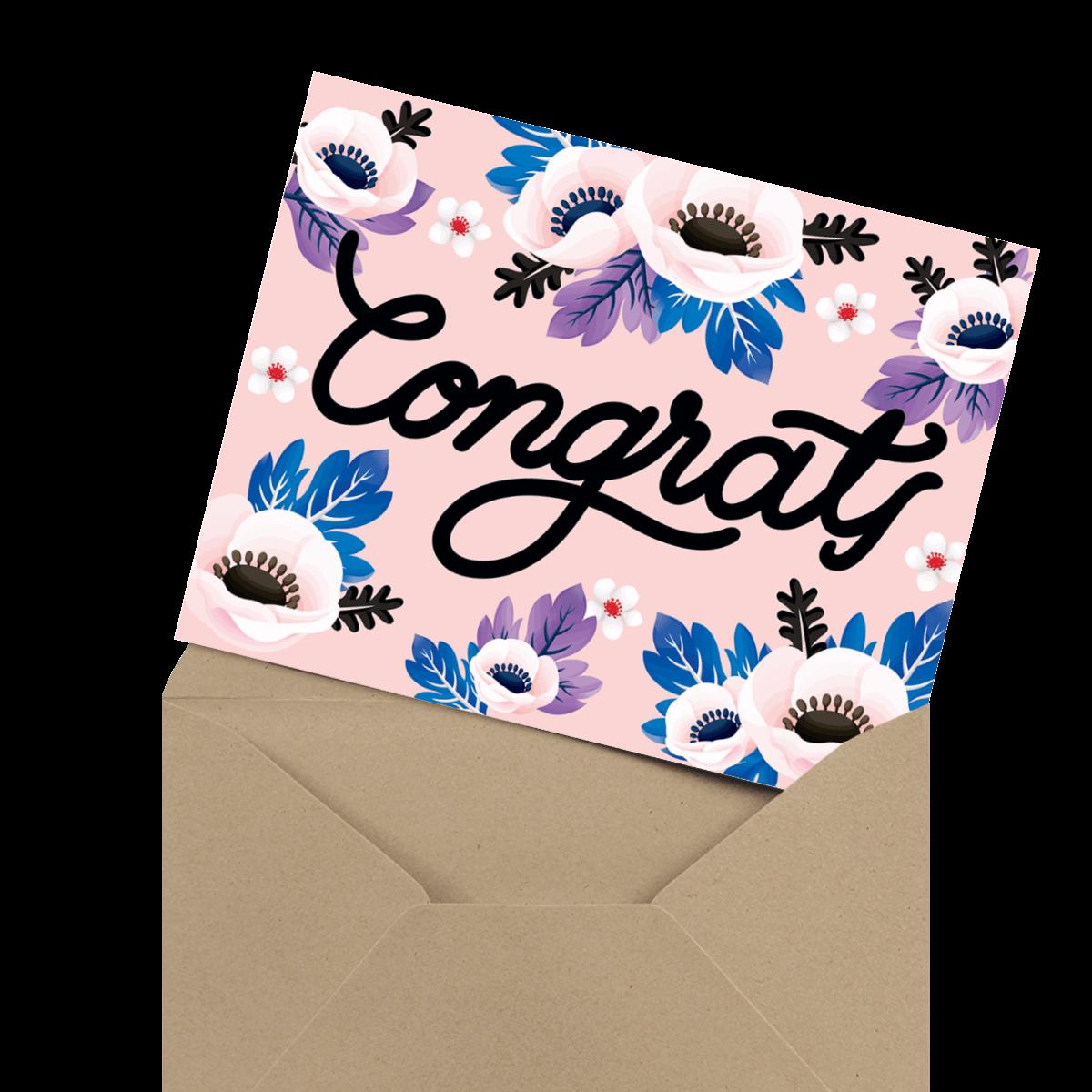 stunning pink congrats greeting card
