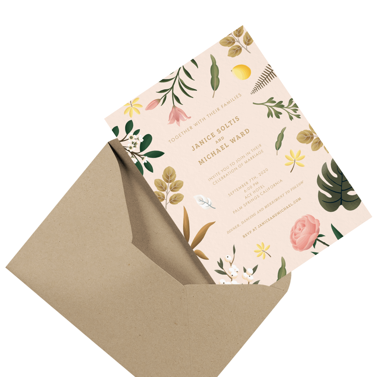floral custom wedding invite in envelope