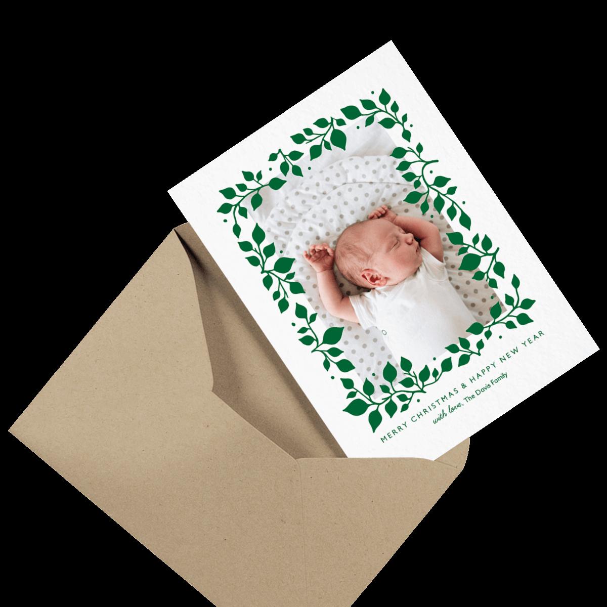 vintage christmas card in envelope