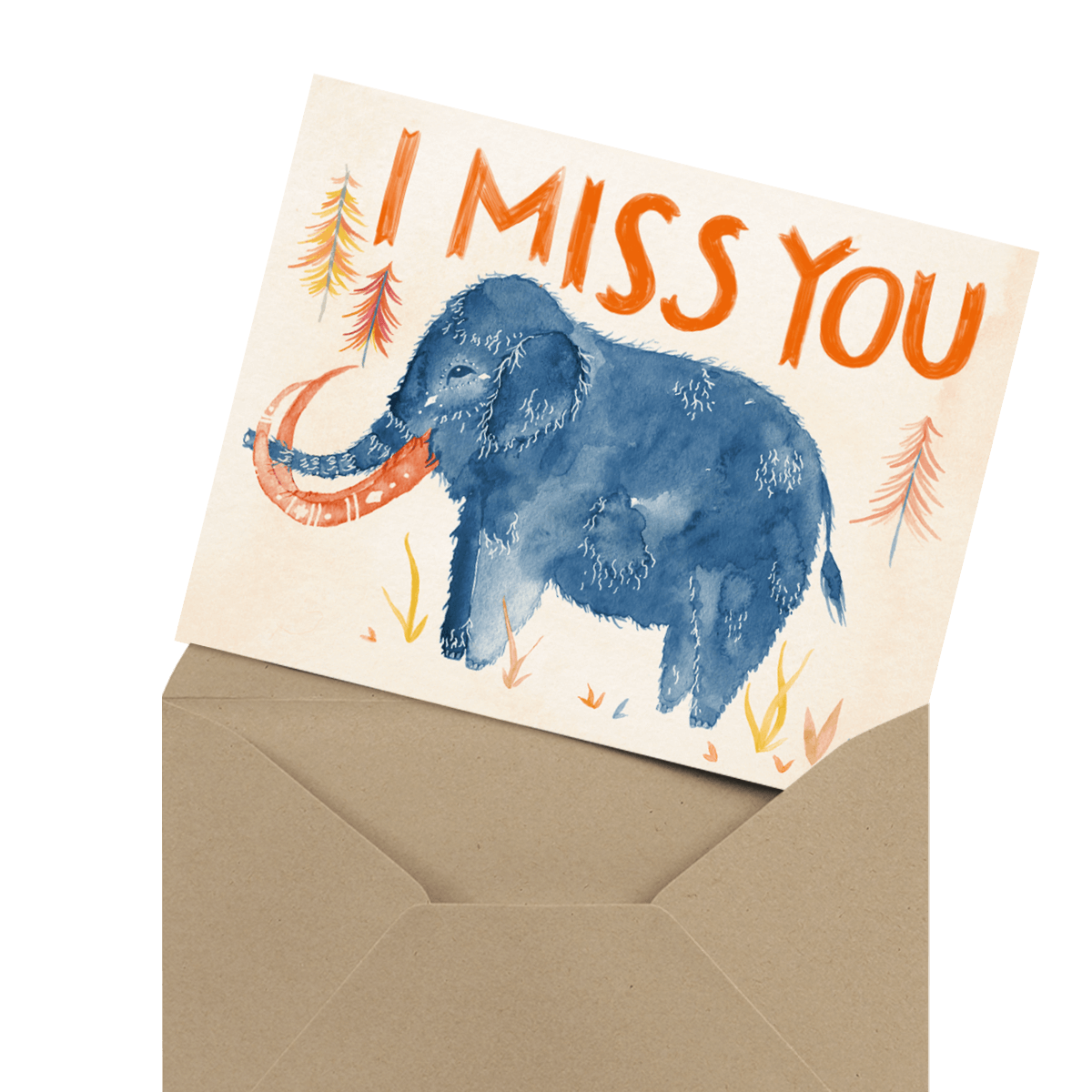 two swans miss you card