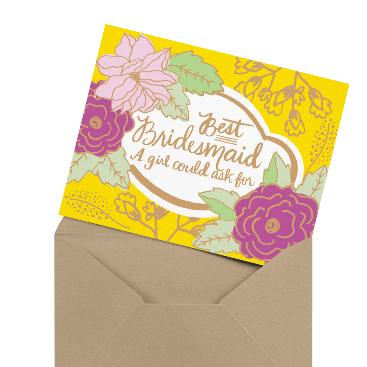 floral best bridesmaid greeting card