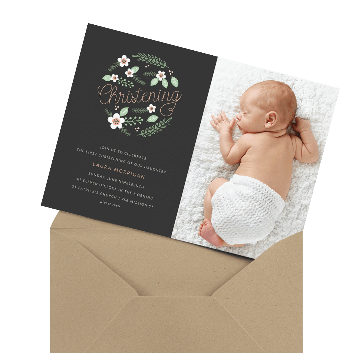 charcoal chic photo religious invitation
