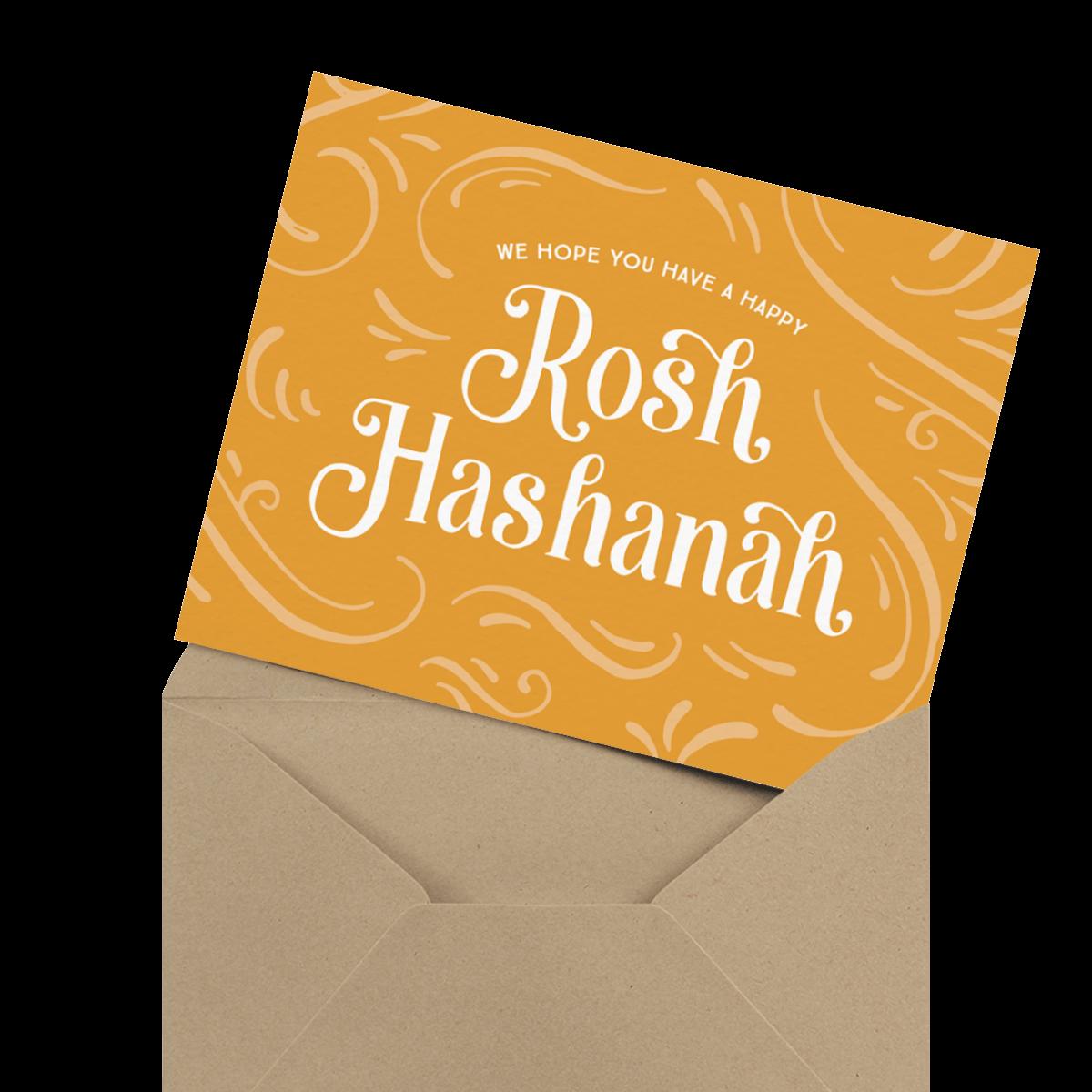 gold rosh hashanah card