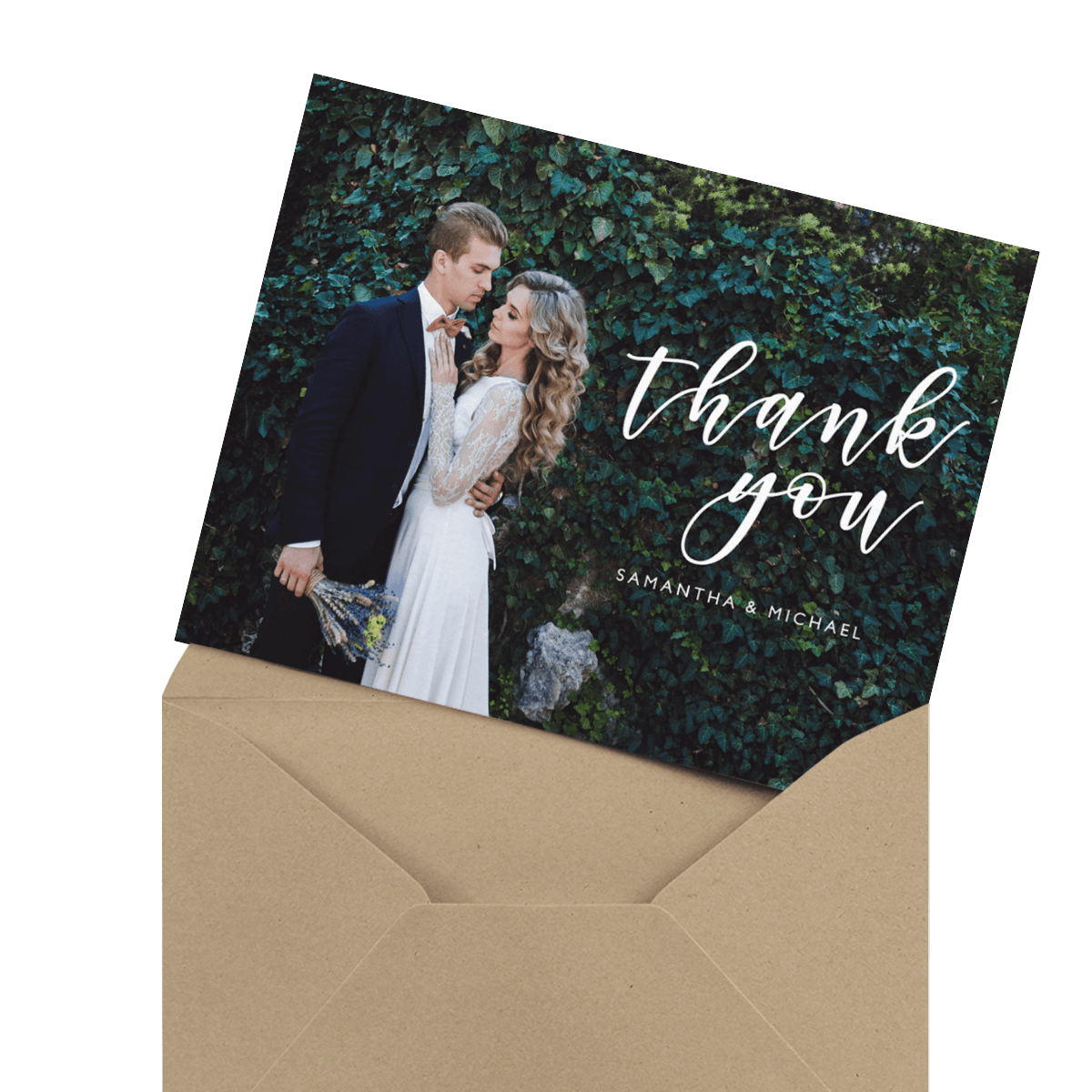 beautiful floral script wedding thank you card