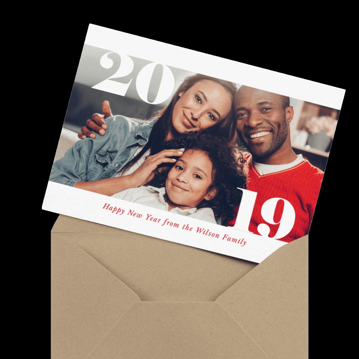 modern multi photo new years card