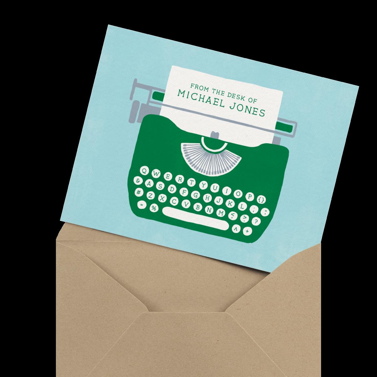 typewriter personalized stationery card