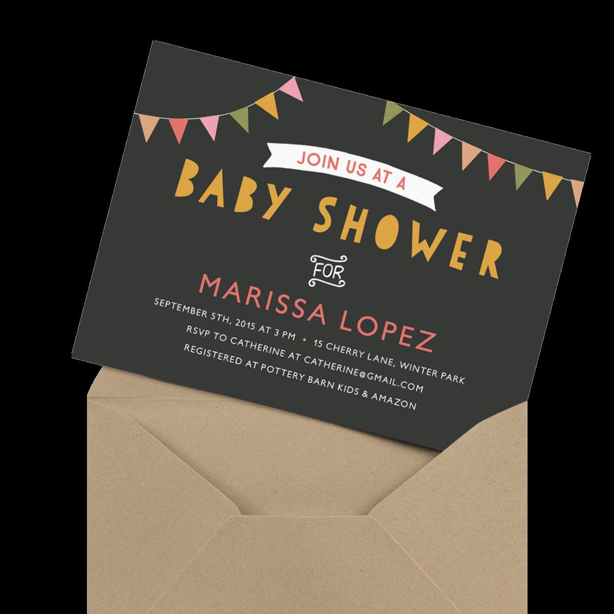 fun banner baby shower invite