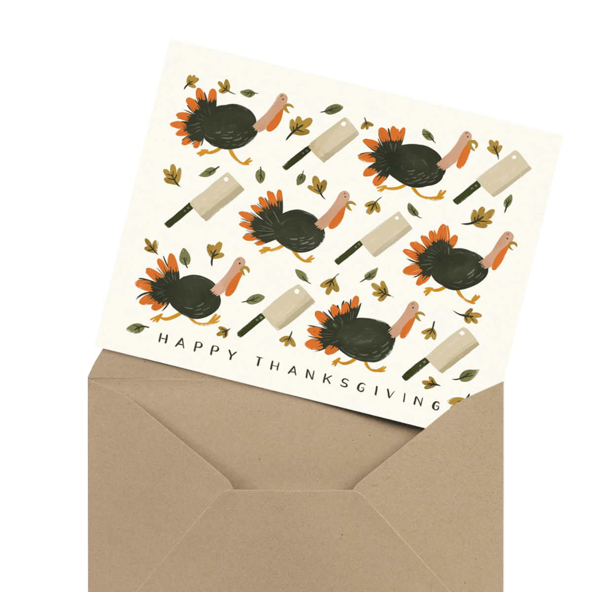 painted turkeys happy thanksgiving card in envelope