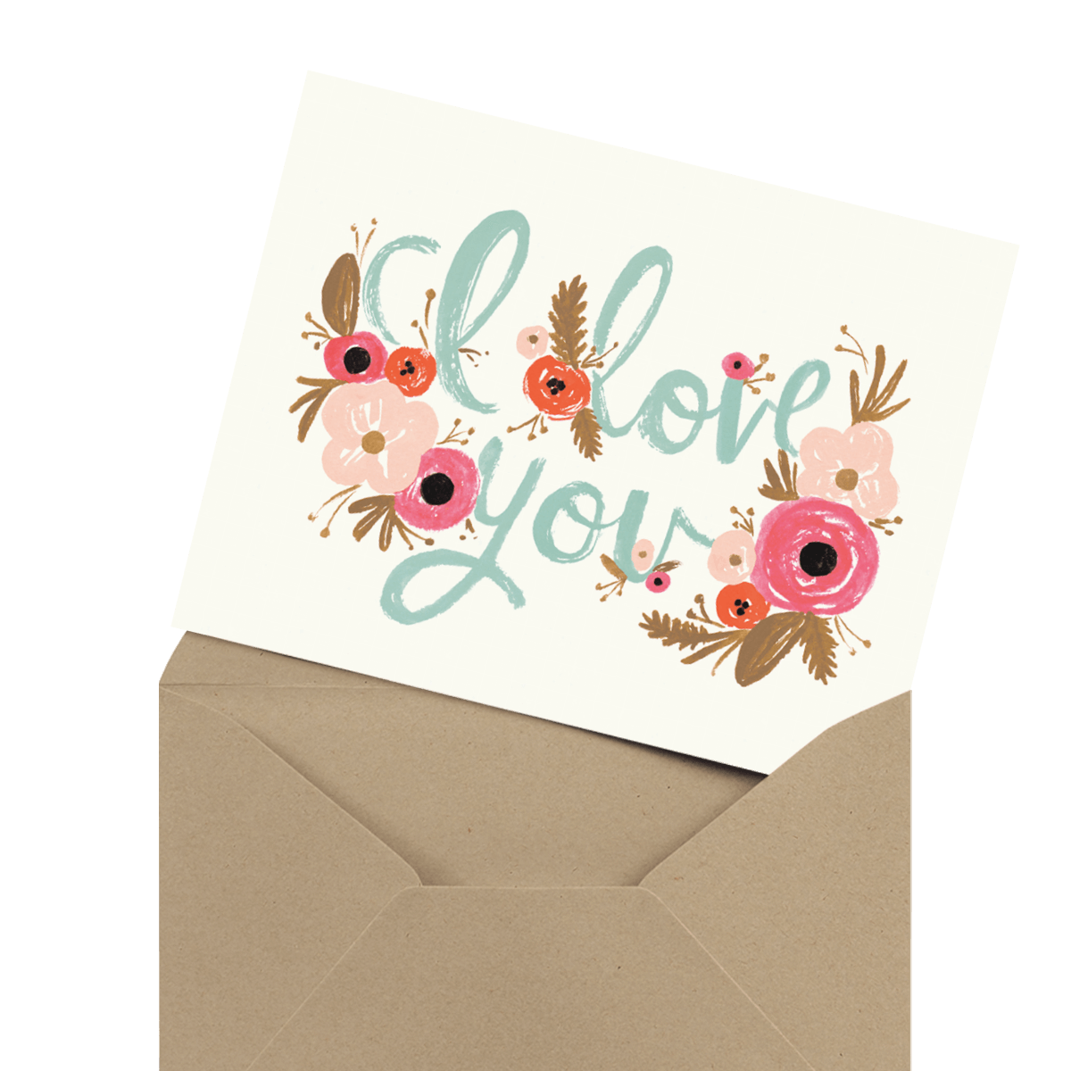 beautiful floral i love you wedding anniversary card