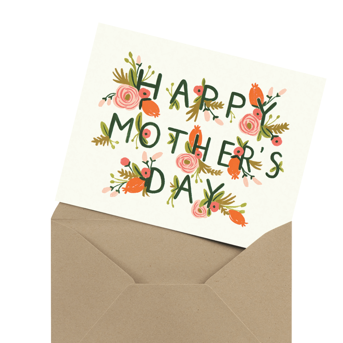 modern photo mother's day card in envelope