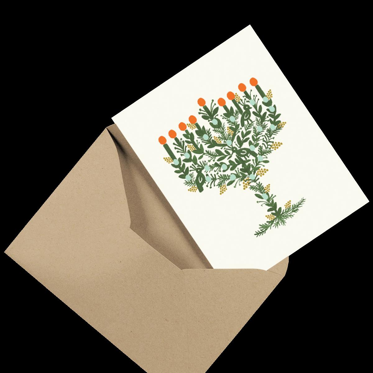 simple blue photo hanukkah card