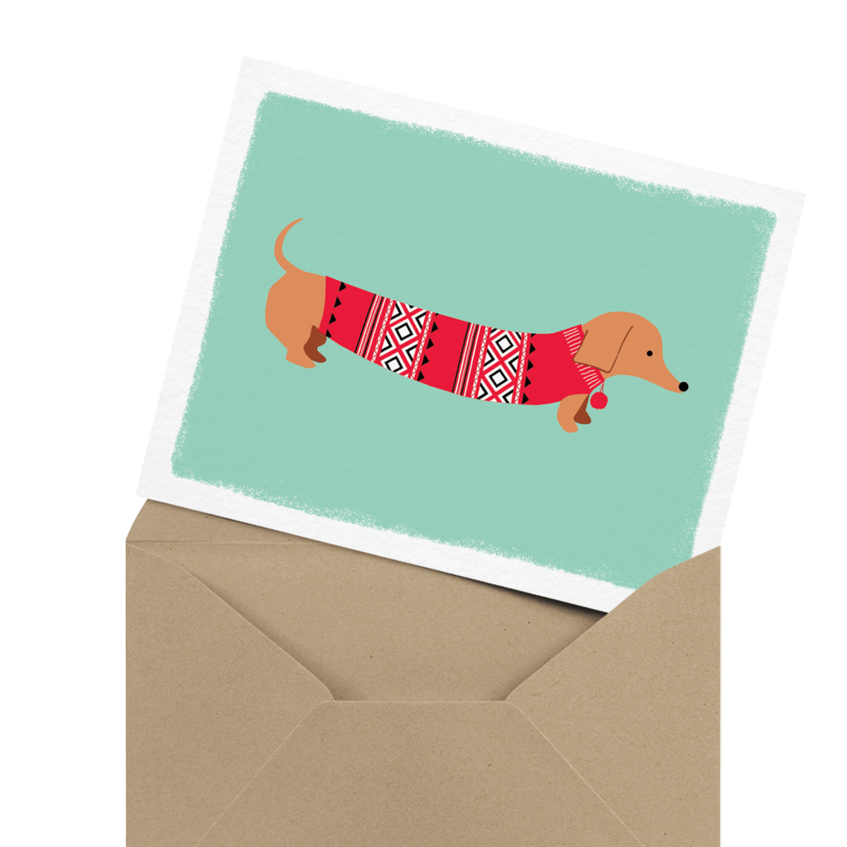 cute weiner dog holiday card
