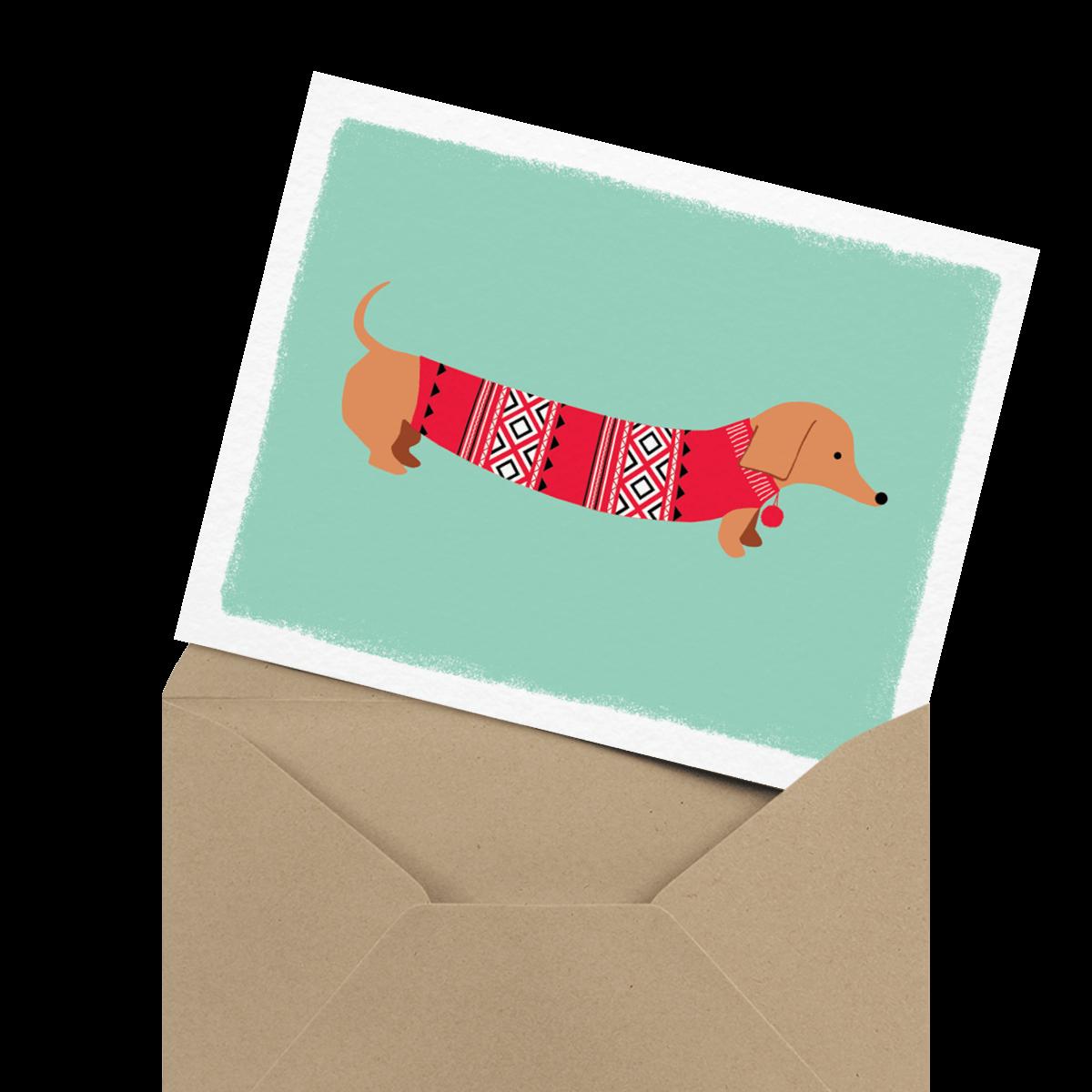 cute weiner dog holiday card
