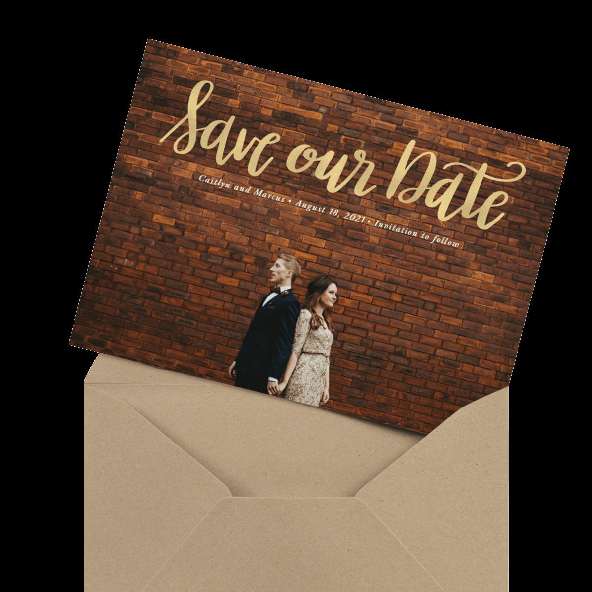 modern custom photo wedding card