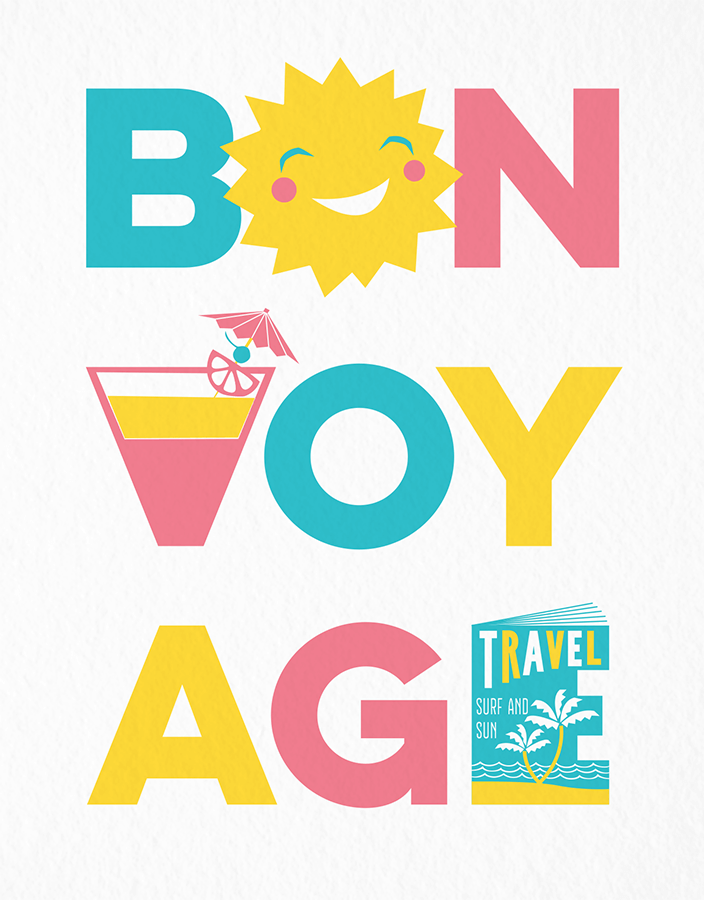 Cute Bon Voyage Good Luck Card