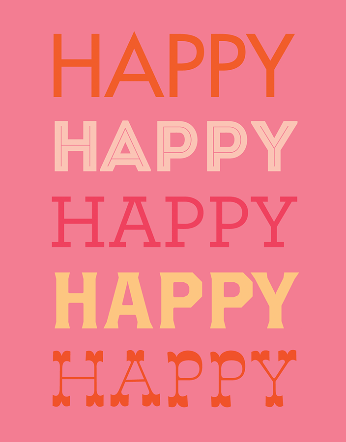 Modern Pink Happy Birthday Card