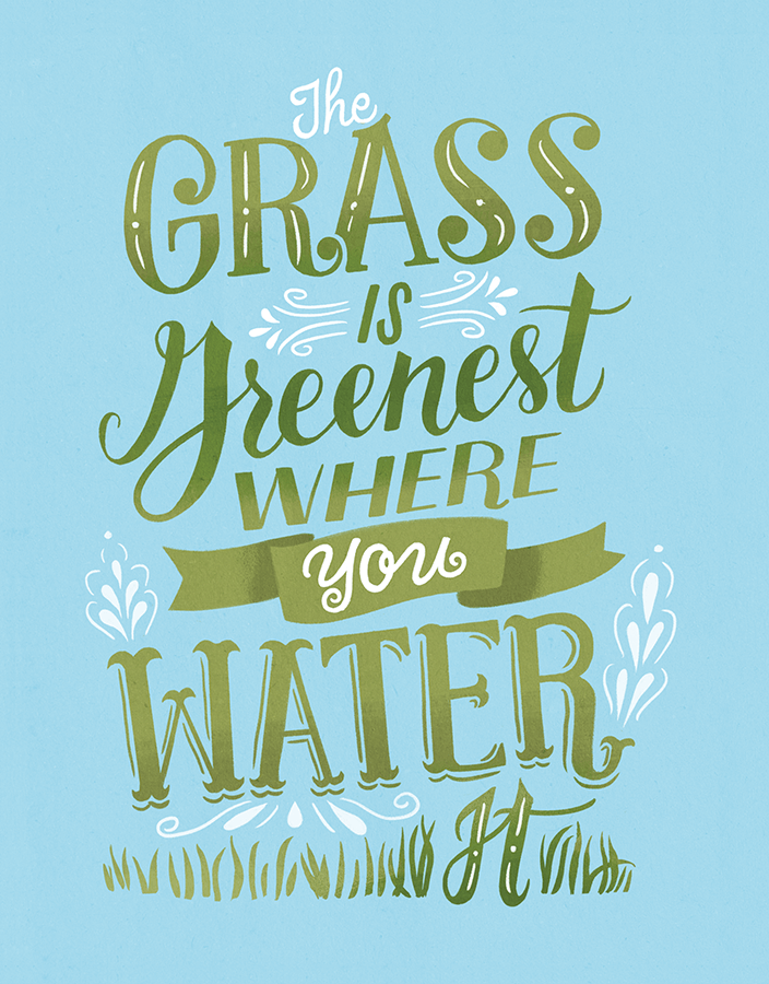 Modern Encouragement Grass Is Greenist Card