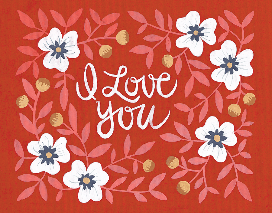 Red Rosebush Love You Card