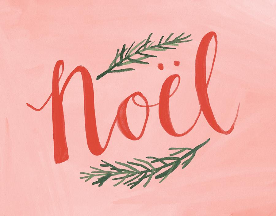 Pine Branch Noel Christmas Card