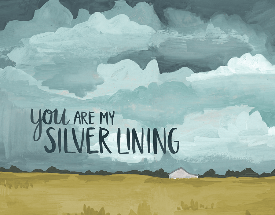 Silver Lining Cloudy Love Card