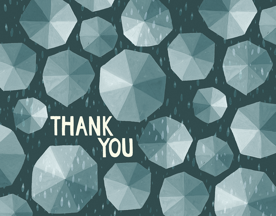 Umbrellas Thank You Card