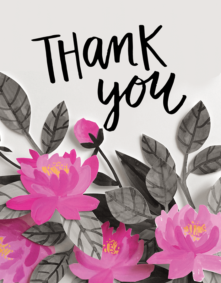 Floral Script Thank You Card