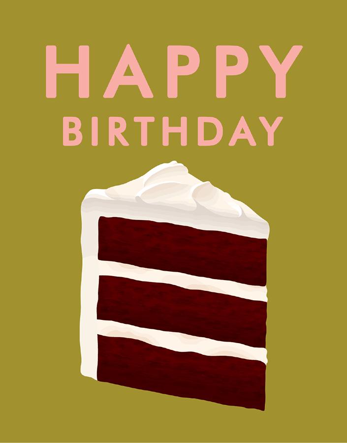 Chocolate Cake Happy Birthday Card
