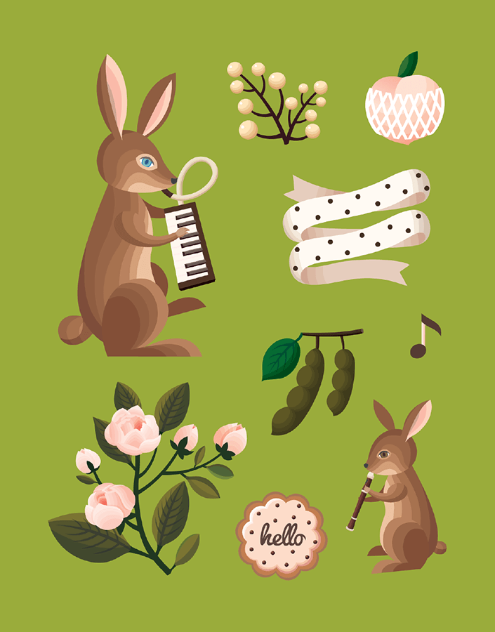 Olive Rabbits Illustration Art Card