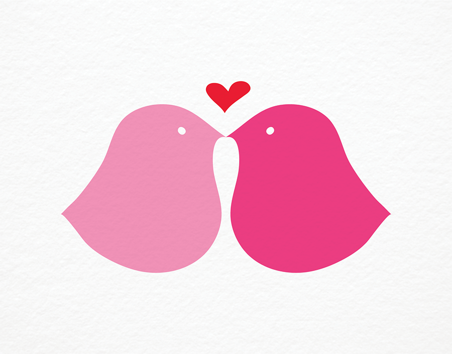 Pink Love Birds Valentine's Day Card