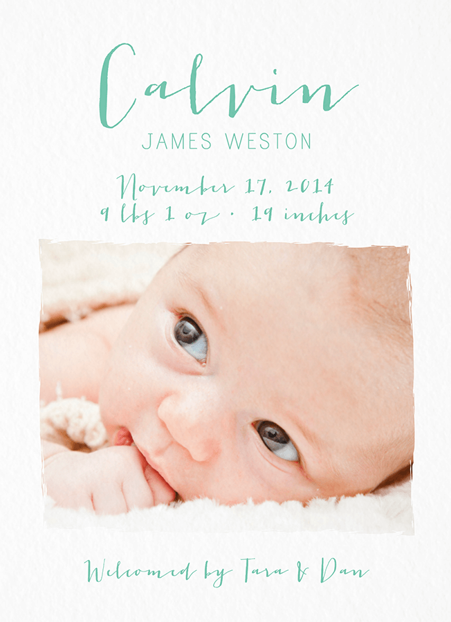 Aqua Script Photo Birth Announcement