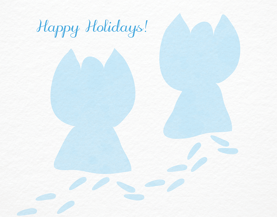 Snow Angels Happy Holidays Card
