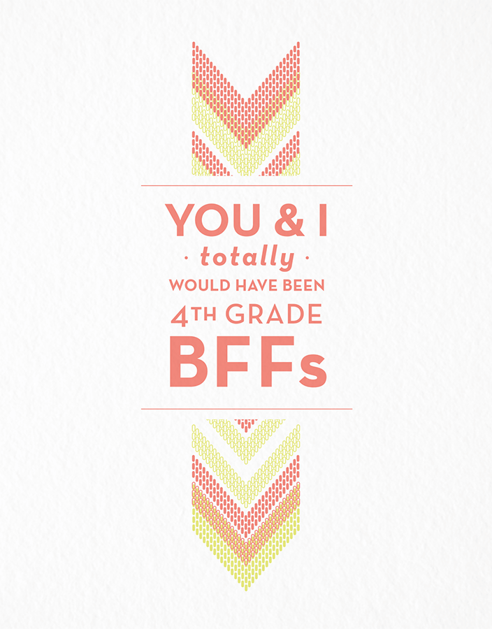 4th Grade BFFs Friend Card