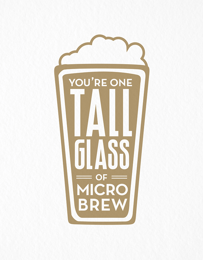 Illustrated Tall Glass of Microbrew Friend Card