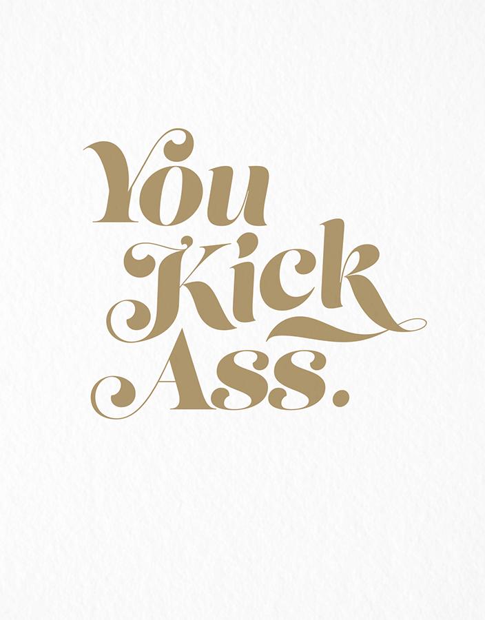 Retro You Kick Ass Congrats Card