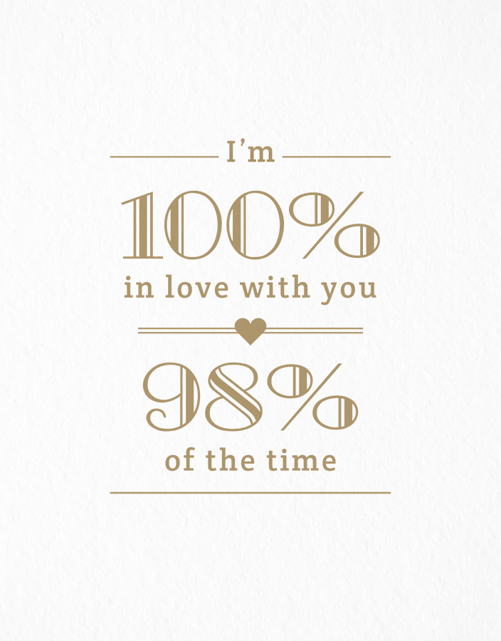 100% in Love, 98% of the Time