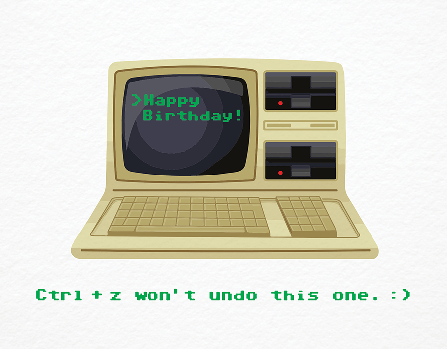 Birthday computer by giveable greetings postable old school computer birthday card bookmarktalkfo Gallery