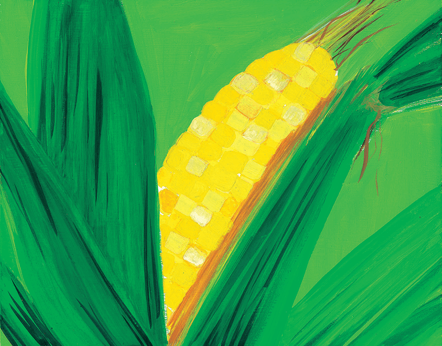 Hand painted Corn Greeting Card