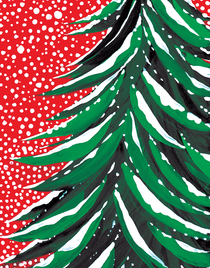 Hand Painted Christmas Tree Christmas Card