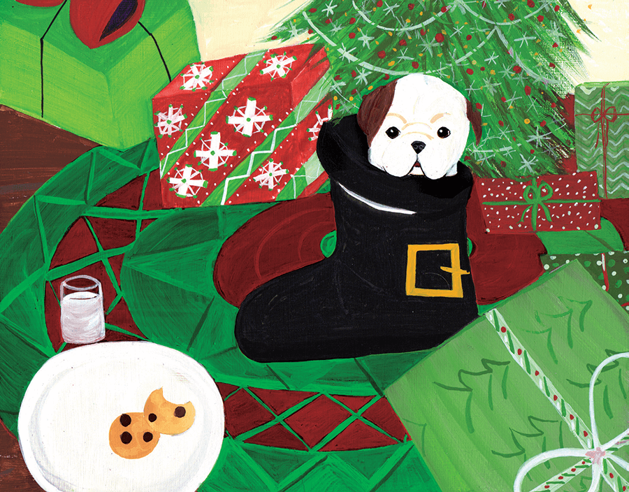 Merry Dog in Boot christmas card