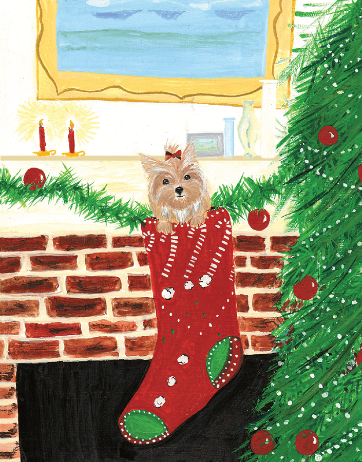 christian Dog in Stocking christmas card