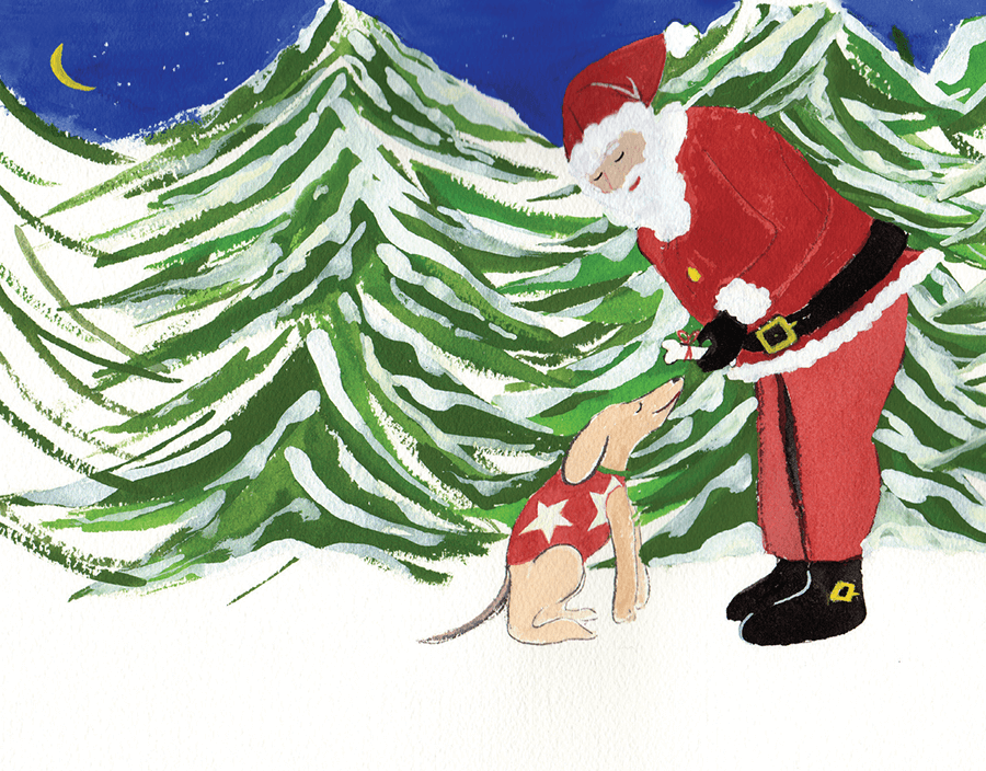 painted vintage Santa and Dog holiday card