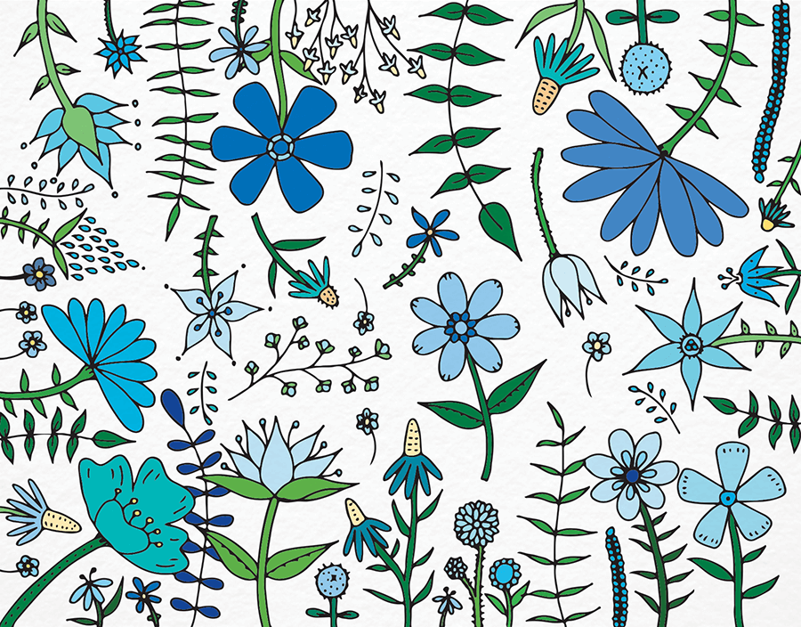 Blue Garden Flowers Stationery