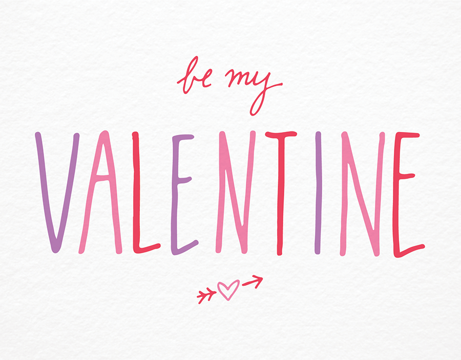 Simple Cursive Be My Valentine card