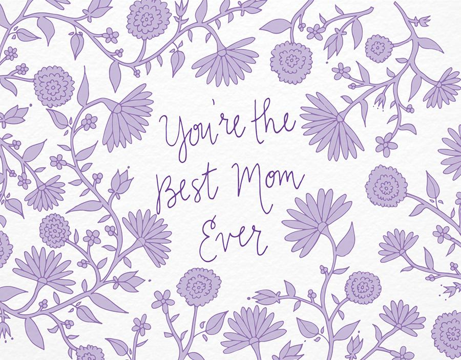 Lavendar floral mother's day card