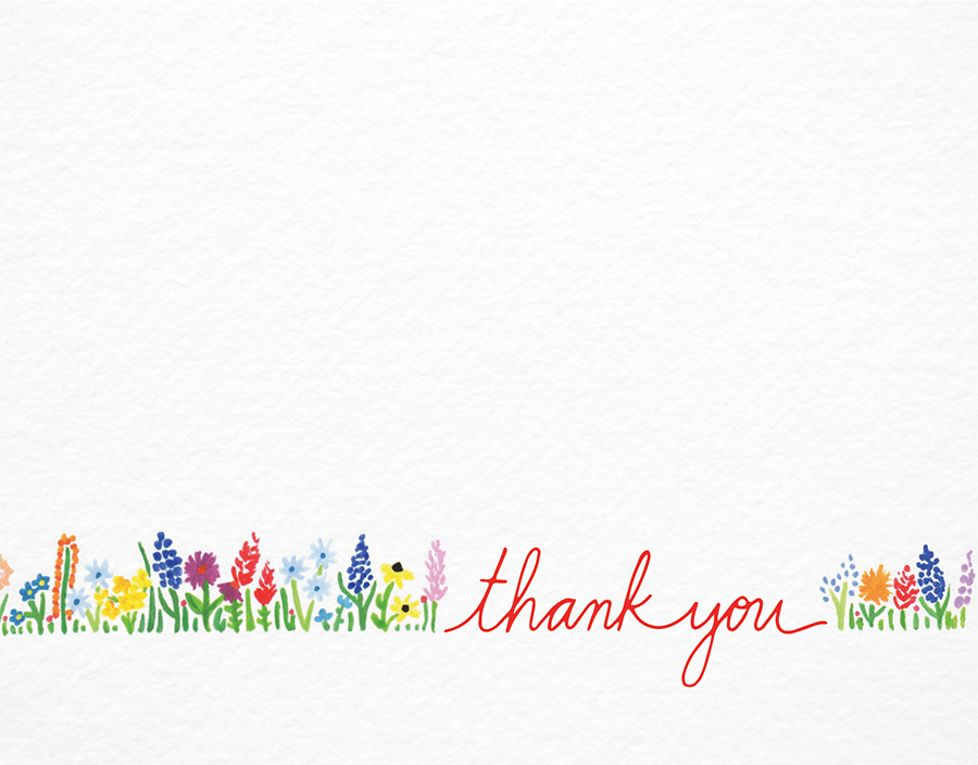 Sweet wildflowers minimal thank you card