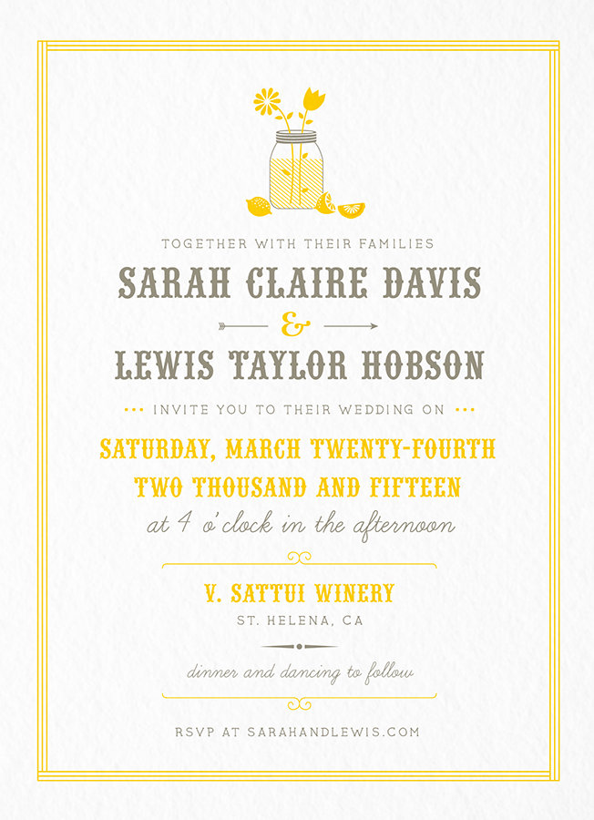 Summer Lemonade Stand Wedding Invitation