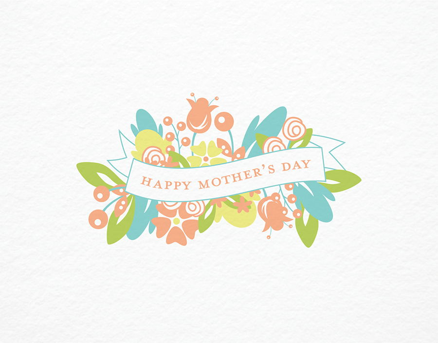 Summer Bouquet and Banner Mother's Day Card