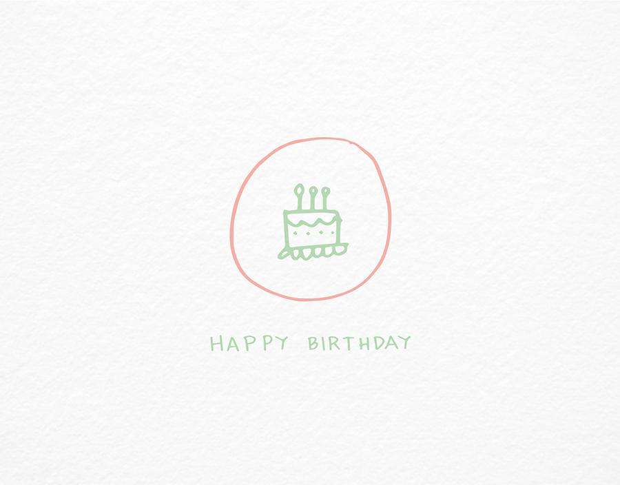 Simiple Birthday Cake Badge Drawing Birthday Card