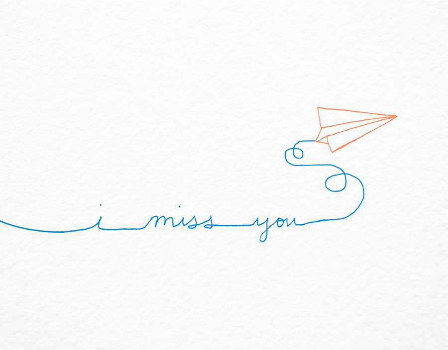 Drawing of Paper Airplane I miss you card