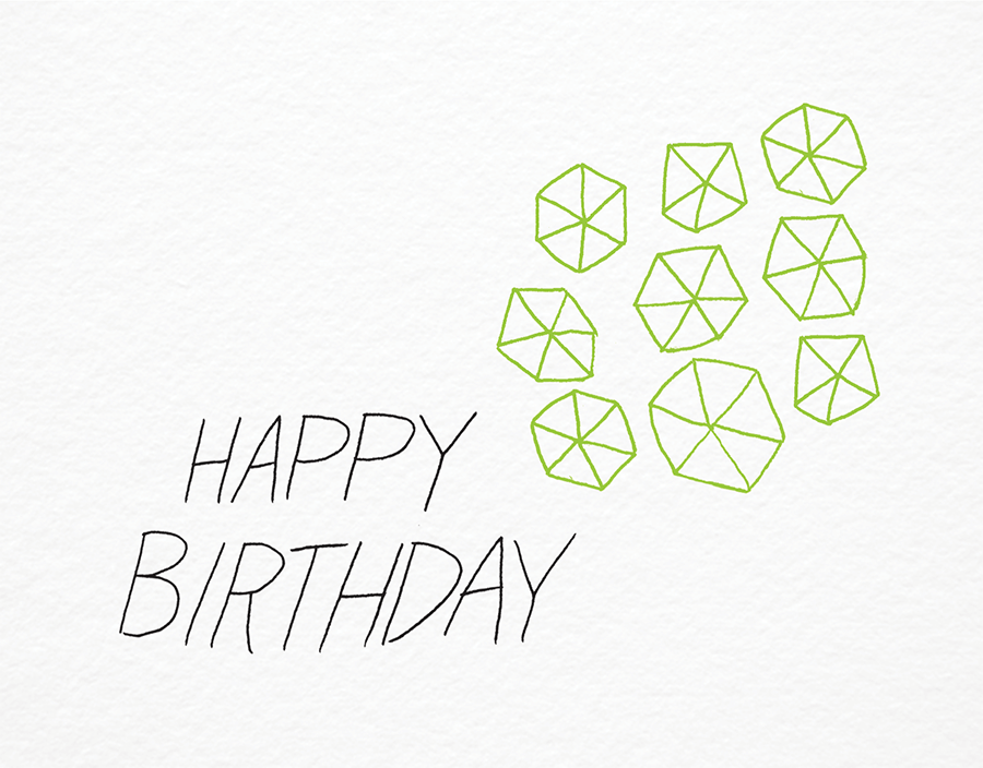 Neon Green Pinwheel Hand Lettered Birthday Card